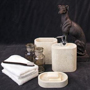 Аксессуары для ванной настольные. Аксессуары для ванной из натурального камня Лечче Ason