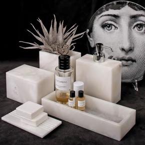 Аксессуары для ванной настольные. Аксессуары для ванной из натурального камня Алебастр Alabaster 9