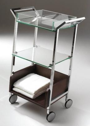 Этажерки для ванной. Стеклянная этажерка на роликах для ванной тройная CRISTALLO Cont Wenge