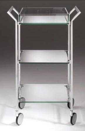 Этажерки для ванной. Стеклянная этажерка на роликах для ванной тройная CRISTALLO Cont