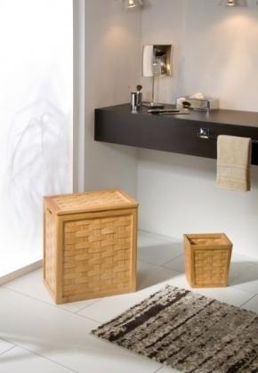 Мебель и Аксессуары для ванной из натурального дерева, Раттана и Бамбука. Корзина для белья плетёная деревянная с крышкой