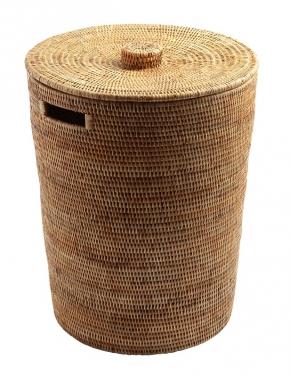 Корзины для белья. Раттан Rattan плетёная корзина для белья и хранения с крышкой натуральный медовая