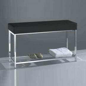 Банкетки для ванной Пуфы Интерьерные Табуреты для ванной и душа Откидные сиденья. Decor Walther Банкетка для ванной с полкой Banc кожаная чёрная