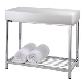 Банкетки для ванной Пуфы Интерьерные Табуреты для ванной и душа Откидные сиденья. Decor Walther Банкетка для ванной с полкой Banc кожаная белая