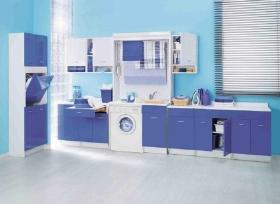 Итальянские постирочные раковины Мебель и оборудование для постирочной комнаты. Гарнитур синий мебель для постирочной с сушилкой для белья COLAVENE