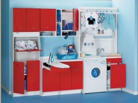 Итальянские постирочные раковины Мебель и оборудование для постирочной комнаты. Мебель для постирочной гарнитур красный с сушилкой для белья COLAVENE