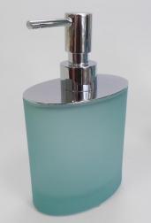 Аксессуары для ванной настольные. Аксессуары для ванной Ellisse Verde Aqua стеклянные овальные светло-зелёные Дозатор