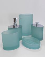 Аксессуары для ванной настольные.  Аксессуары для ванной Ellisse Verde Aqua стеклянные овальные светло-зелёные