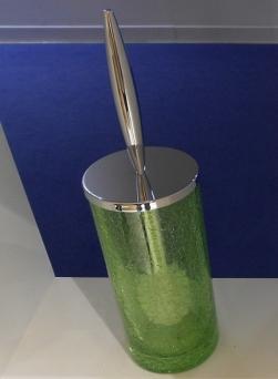 . Long ёршик для унитаза напольный кракелюрное стекло Зелёное
