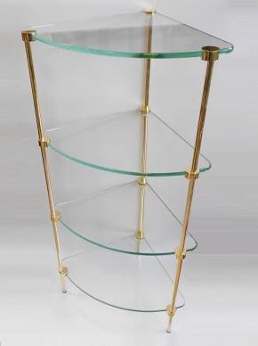 Этажерки для ванной. T2 Этажерка стеклянная угловая Золотая 4 полки