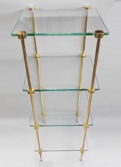 Этажерки для ванной. T2 Этажерка стеклянная квадратная золотая 4 полки