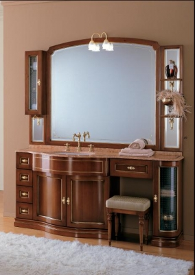 Мебель для ванной комнаты. Мебель для ванной Eurodesign умывальник с зеркалом IL Borgo gold-silver 27