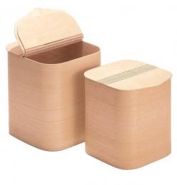 Мебель и Аксессуары для ванной из натурального дерева, Раттана и Бамбука. Корзина для белья Buk Qubbi деревянная с крышкой
