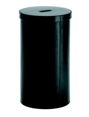 Корзины для белья. Кожаная корзина для белья с крышкой чёрная круглая Pellecont