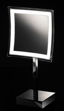 Зеркала косметические с подсветкой увеличением настенные настольные Зеркала с присосками. Квадратное настольное Зеркало косметическое с подсветкой LED от батареек и увеличением 1х5
