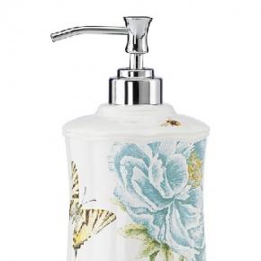 Аксессуары для ванной настольные. Диспенсер для лосьона 22 см Бабочки на лугу (голубой)