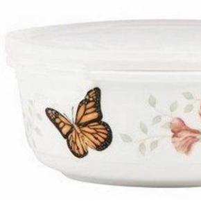 Ёмкости для хранения кухонные. Фарфоровая ёмкость для хранения продуктов с крышкой 600 мл Бабочки на лугу