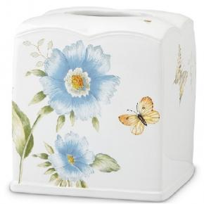 . Подставка для салфеток Бабочки на лугу (голубой) 16 см