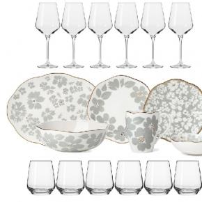 Посуда Столовые приборы Декор стола Deluxe. Сервиз столовый 6 персон/26 предметов Лепестки + Подарок (6 бокалов для бел.вина 390 мл. и 6 стаканов для воды 400 мл.)
