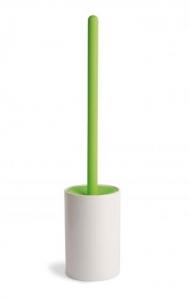 Ёршики для унитаза напольные и настенные. Аксессуары для ванной белый керамический ёршик для унитаза напольный с зелёной ручкой Lineabeta