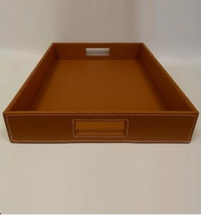 Аксессуары и Мебель для дома. Поднос лоток кожаный коричневый прямоугольный с ручками Коньяк