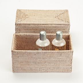 Мебель и Аксессуары для ванной из натурального дерева, Раттана и Бамбука. Лоток настольный плетёный Rattan Ротанг светлый с крышкой