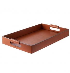 Аксессуары и Мебель для дома. Поднос лоток кожаный с ручками Vola Коньяк Большой