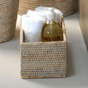 Мебель и Аксессуары для ванной из натурального дерева, Раттана и Бамбука. Лоток настольный плетёный Rattan Ротанг светлый для мини-полотенец
