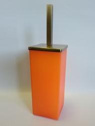 Ёршики для унитаза напольные и настенные. Ёршик для унитаза напольный стеклянный оранжевый матовый квадратный MARMORES Бронза