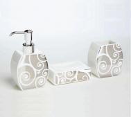 Аксессуары для ванной настольные. Аксессуары для ванной Arabesque Marmores, белый/платина
