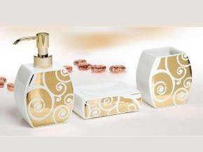 Аксессуары для ванной настольные. Аксессуары для ванной Arabesque Marmores керамические с золотым декором