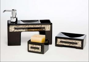 . Аксессуары для ванной Arches Marmores чёрные с серебром керамические