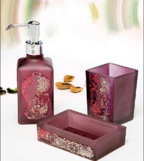 . Аксессуары для ванной Kalahari Violet Marmores стеклянные фиолетовые с декором настольные