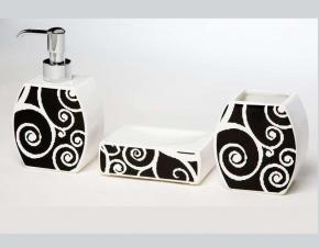 . Аксессуары для ванной Arabesque Marmores белый/чёрный