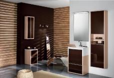 Мебель для ванной комнаты. Мебель для гостевого санузла QUBO, коричневый/дуб