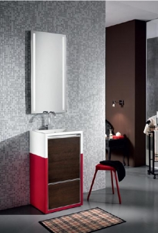 Мебель для ванной комнаты. Мебель для гостевого санузла QUBO, венге/красный