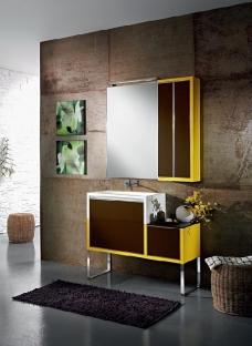 Мебель для ванной комнаты. Мебель для гостевого санузла QUBO, желтый