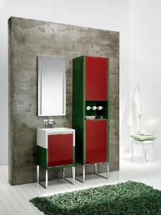 Мебель для ванной комнаты. Мебель для гостевого санузла QUBO, зелёный/красный