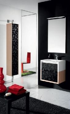 Мебель для ванной комнаты. Мебель для гостевого санузла QUBO, чёрный/дуб