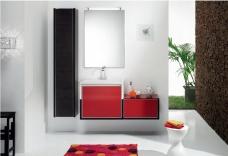 Мебель для ванной комнаты. Мебель для гостевого санузла QUBO, красный/венге
