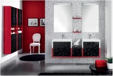 Мебель для ванной комнаты. Мебель для гостевого санузла QUBO, красный