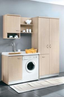 Итальянские постирочные раковины Мебель и оборудование для постирочной комнаты. Постирочная мебель раковина, колонка с корзиной для белья, Дуб