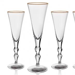 Посуда Столовые приборы Декор стола Deluxe. Набор из 4 фужеров для шампанского 190 мл Офелия в подарочной коробке Moser