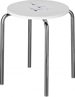Банкетки для ванной Пуфы Интерьерные Табуреты для ванной и душа Откидные сиденья. MÖWE табурет для ванной белый с декором Чайки