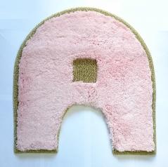 Коврики для ванной комнаты.  Коврик для ванной комнаты PIAZZA Nicol розовый овальный с вырезом люрекс золотой