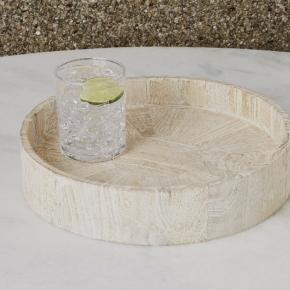 Аксессуары и Мебель для дома. Круглый деревянный поднос Driftwood Round Topper Tray