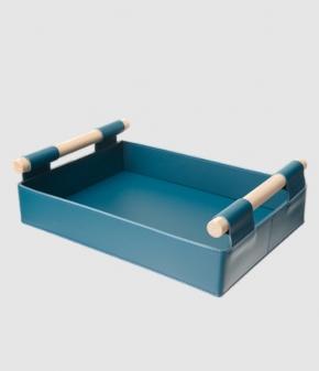 Аксессуары и Мебель для дома. Поднос лоток Hanny кожаный Синий с деревянными ручками
