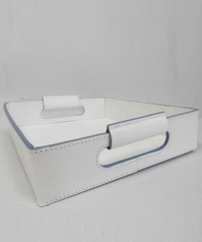 Аксессуары и Мебель для дома. Поднос лоток кожаный Vola белый
