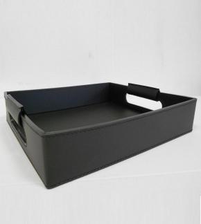 Аксессуары и Мебель для дома. Поднос лоток кожаный Vola чёрный