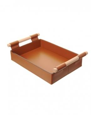 Аксессуары и Мебель для дома. Поднос лоток Hanny кожаный Коньяк с деревянными ручками